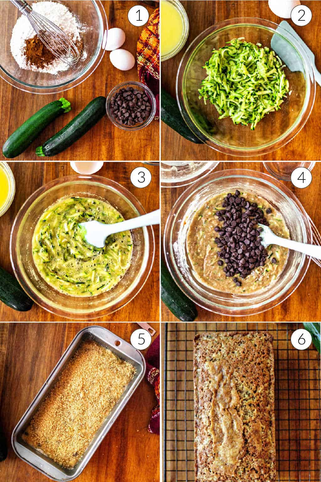 prep steps for making chocolate chip zucchini bread