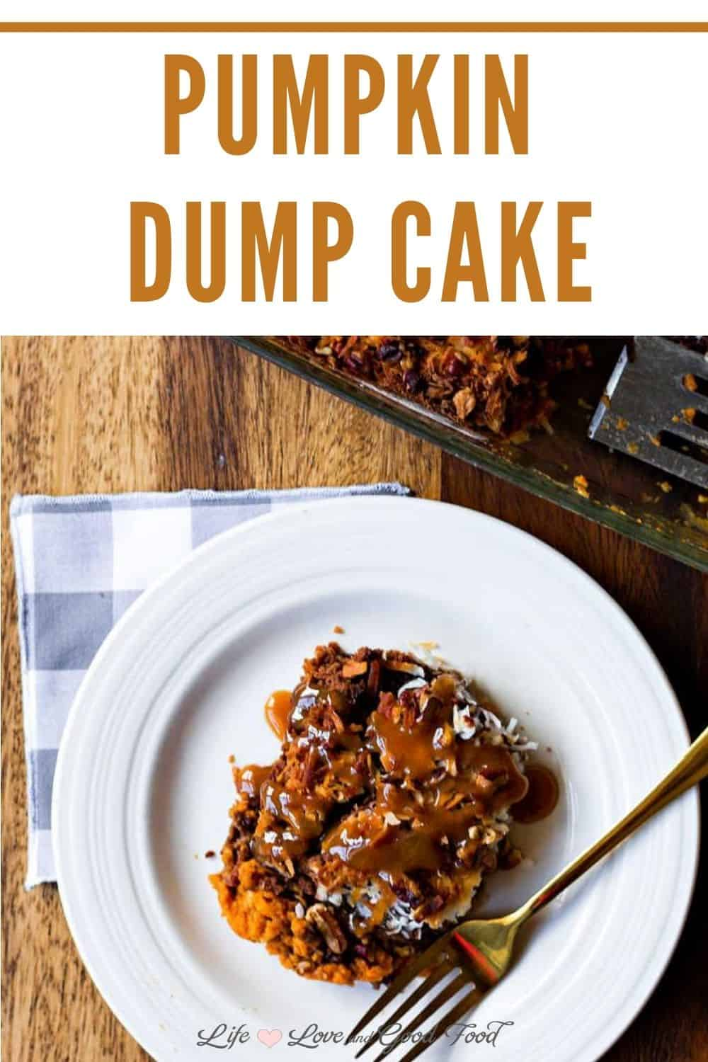 This yummy Fall dessert, German Chocolate Pumpkin Dump Cake, is a mash-up of pumpkin pie, chocolate cake, and a crunchy coconut and chopped pecan topping. Spoon it out and serve it up either warm or cold with a drizzle of caramel syrup, a scoop of vanilla ice cream, or homemade sweetened whipped cream or cool whip.