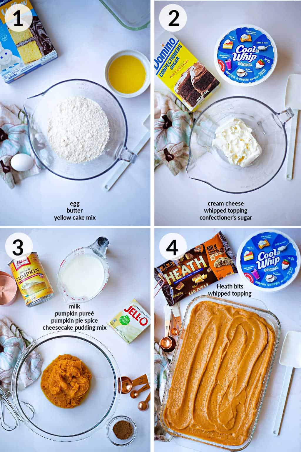 ingredients for each layer of Pumpkin Delight on a table