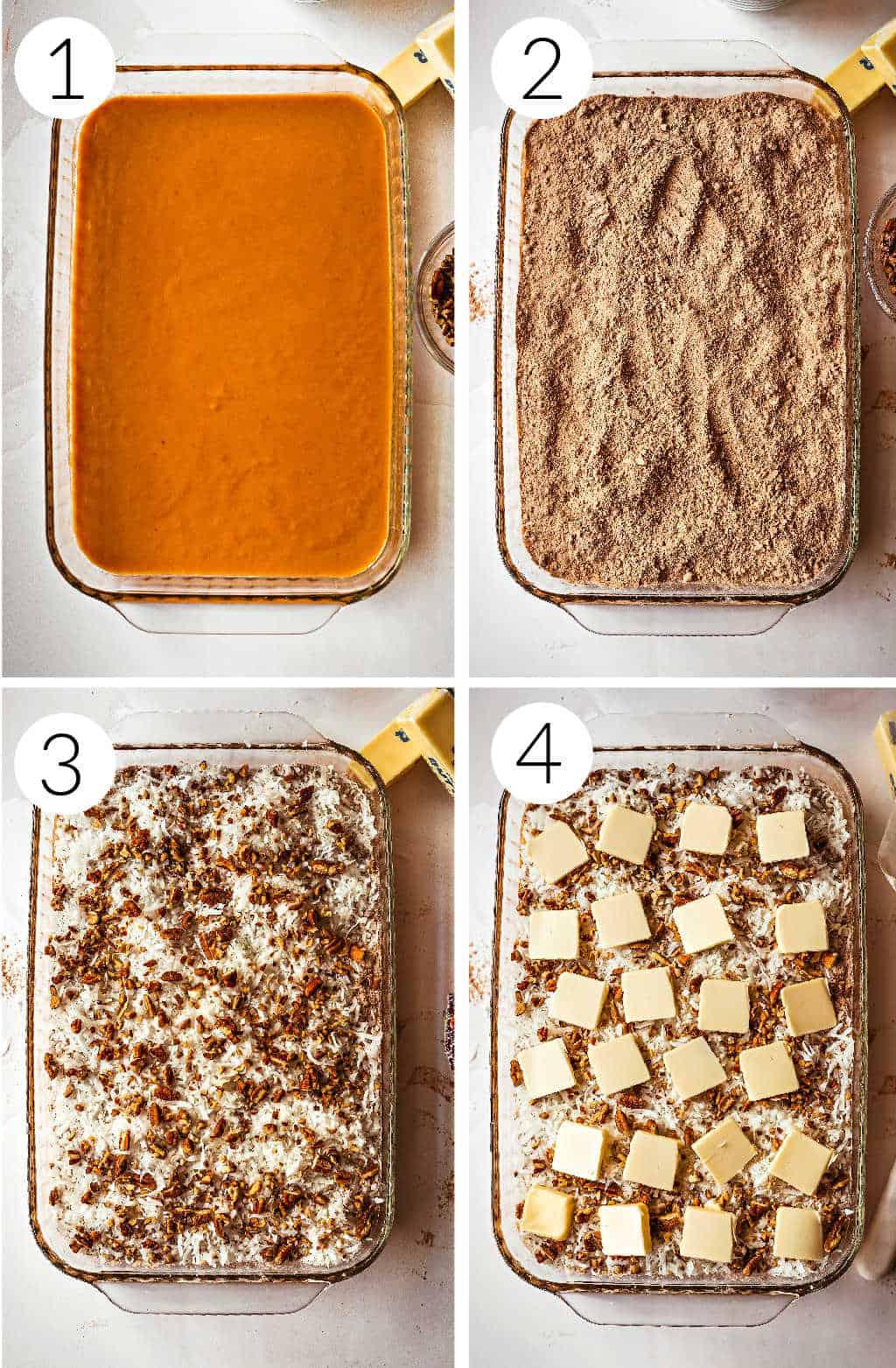 making german chocolate pumpkin dump cake process images