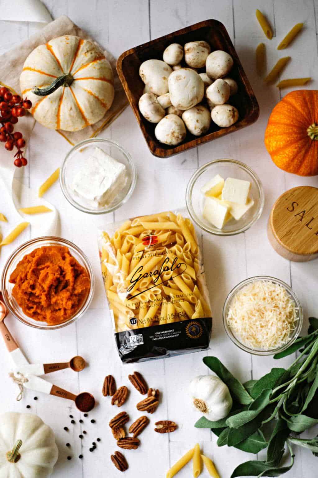 ingredients for penne pasta with pumpkin sauce