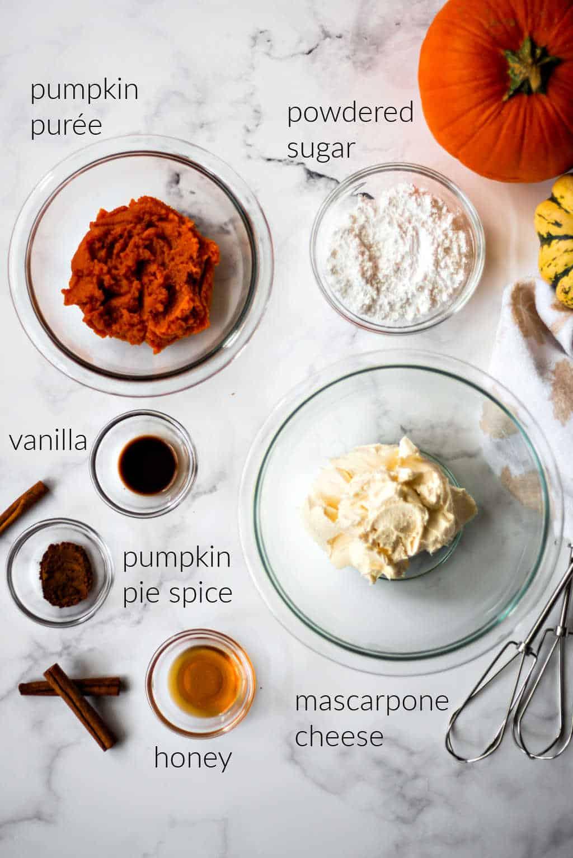 ingredients for pumpkin mascarpone dip