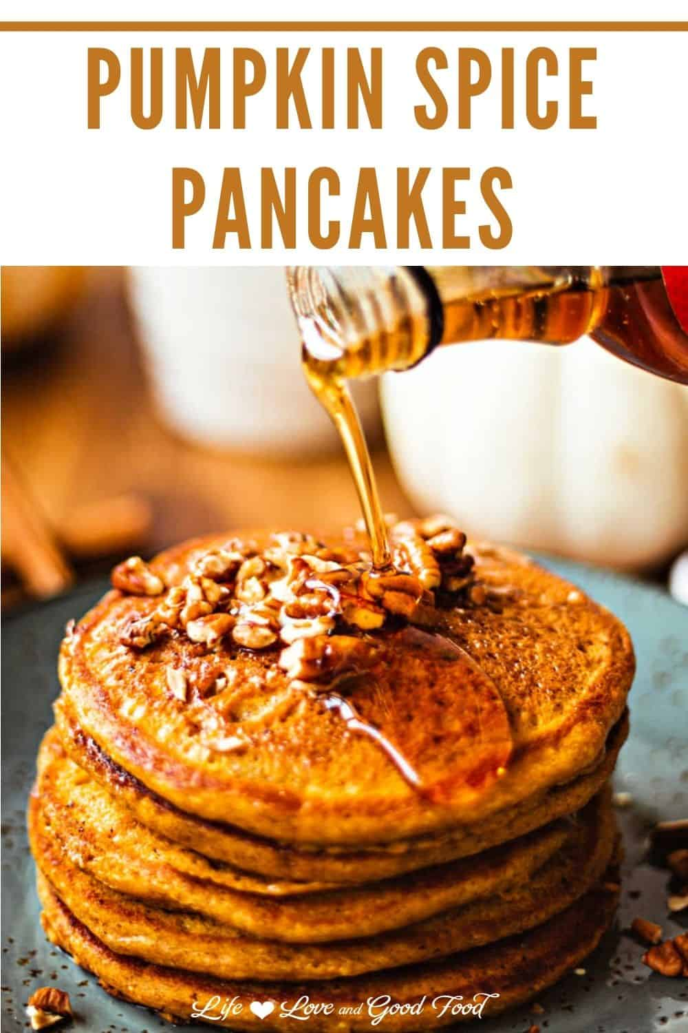 Pumpkin Spice Pancakes are light and fluffy, full of pumpkin flavor, and just perfect for a special Fall breakfast. Topped with toasted pecans and maple syrup, these pumpkin pancakes are bursting with hints of cinnamon, nutmeg, and cloves.