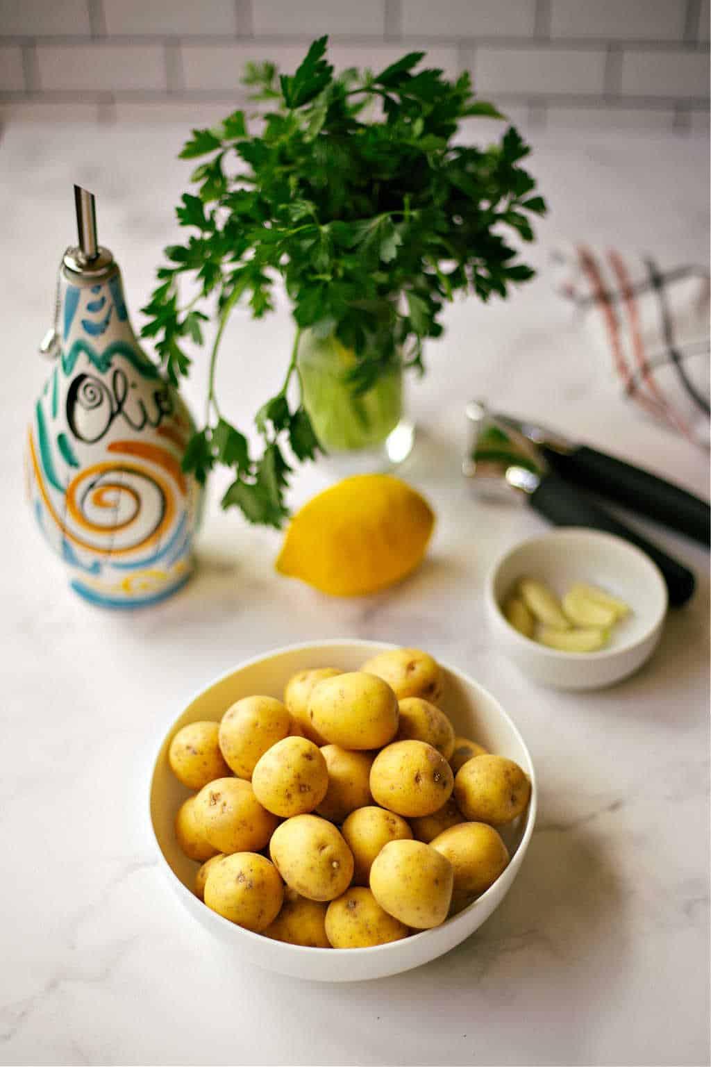 ingredients for Lemon Garlic Smashed Potatoes