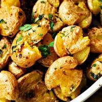 Lemon Garlic Smashed Potatoes