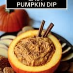 Easy Pumpkin Dip on a black platter with ginger snaps and apple slices