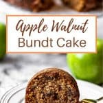 a slice of apple walnut bundt cake on a plate with a fork
