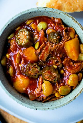 Easy Brunswick Stew in a bowl on a plate