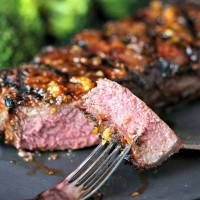 New York Strip Steak bite on a fork