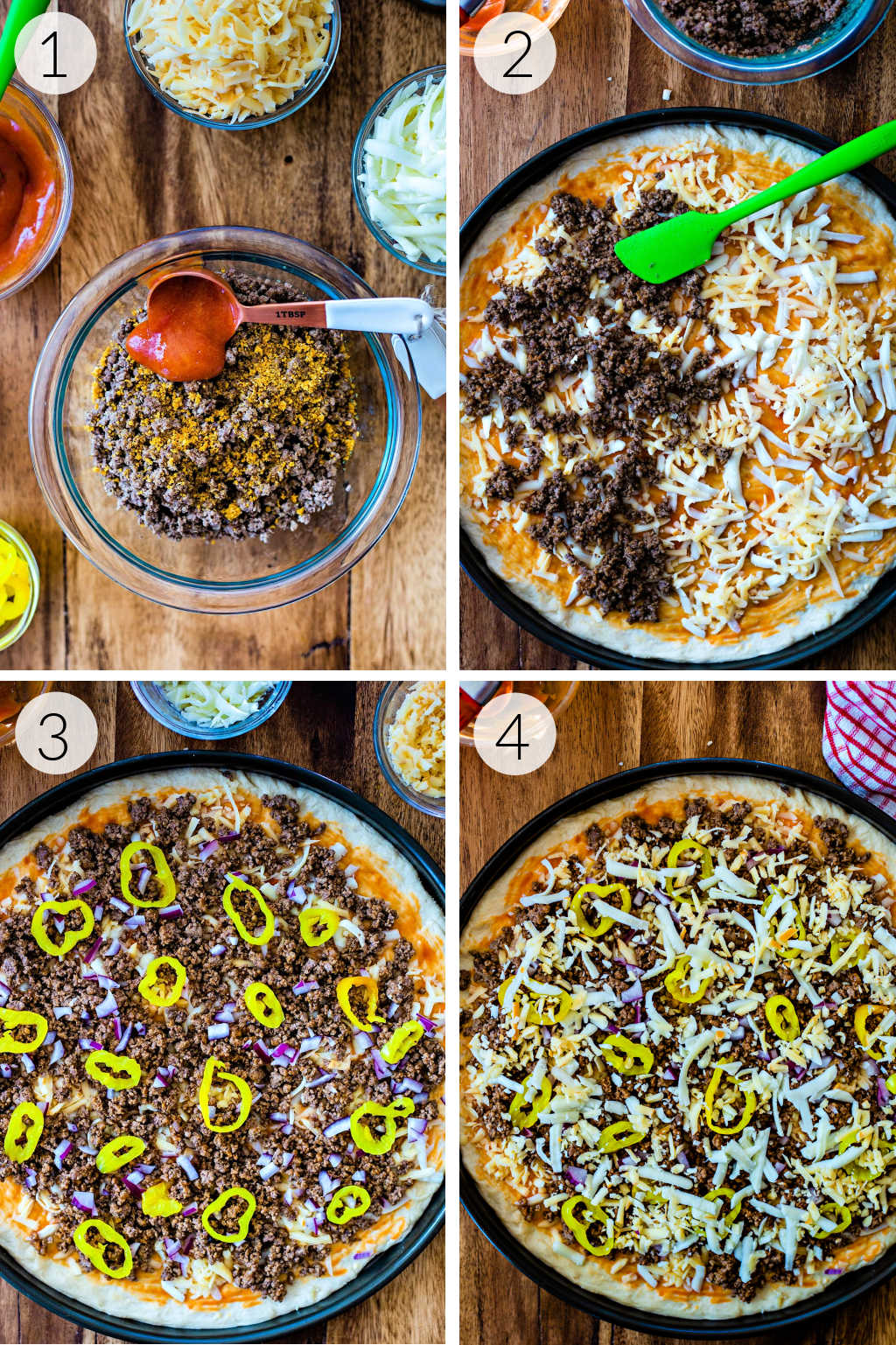 process collage for assembling cheeseburger pizza