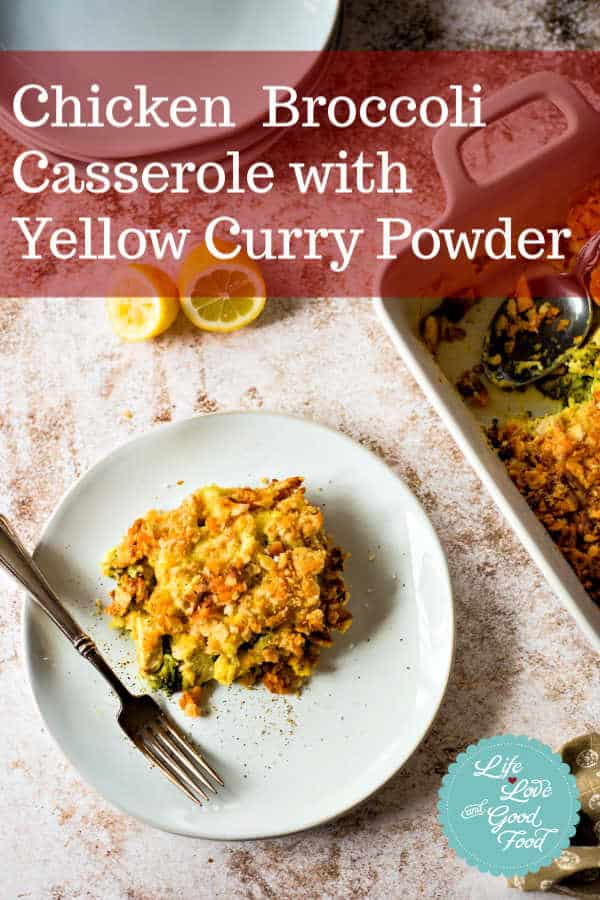 Yellow curry powder and a little mayo added to the sauce in this chicken casserole blend together for an unexpected, but delicious flavor for a winning chicken dinner your family will love! #easyrecipe #familydinner #chickencasserole #chickendinner