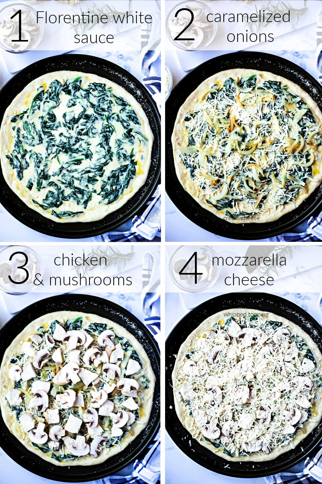 process images for making Florentine Chicken Pizza