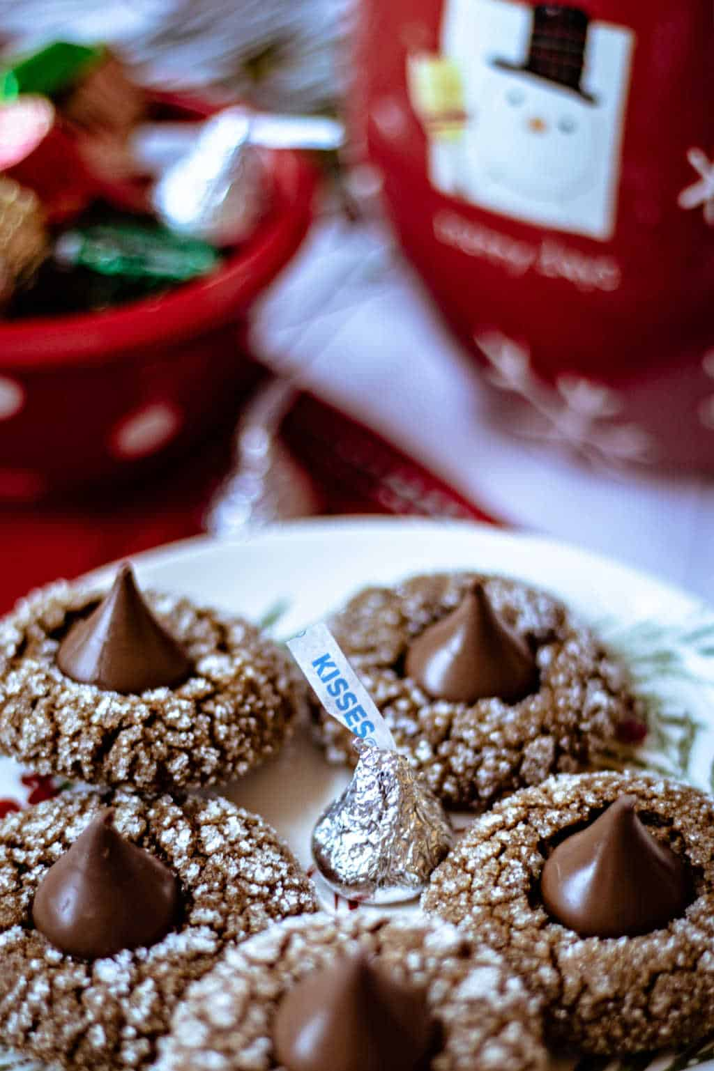 gingerbread gems on a plate with a wrapped Hershey's kiss