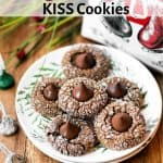 gingerbread KISS cookies on a plate on a wooden table