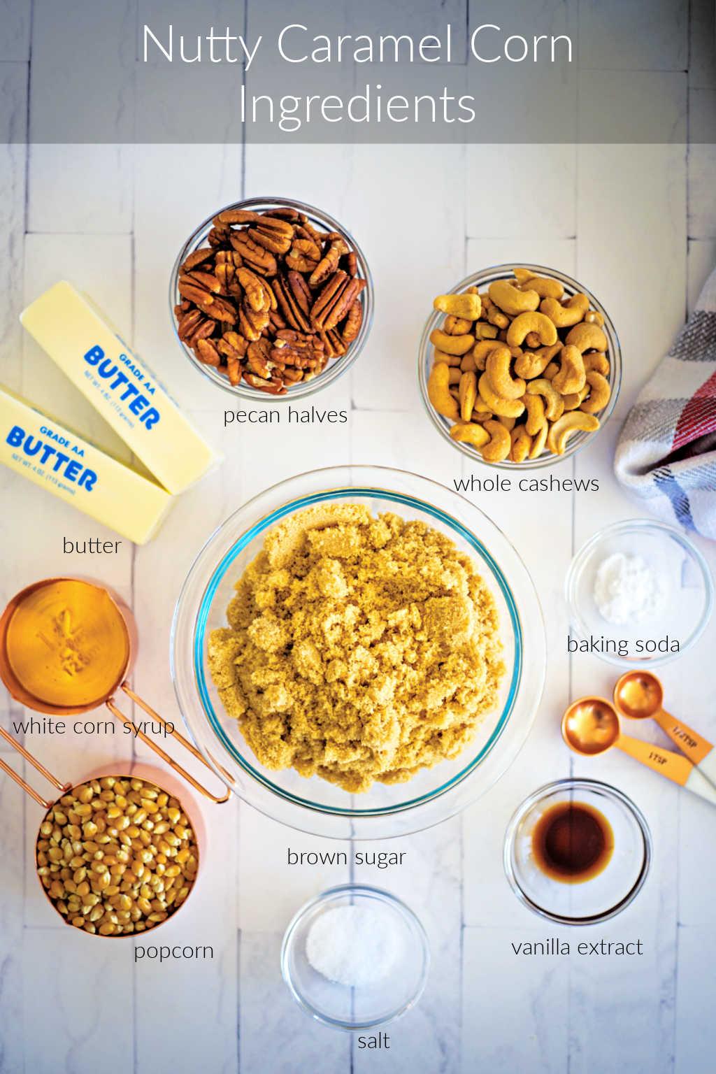 ingredients for caramel corn