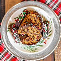 Espresso Chocolate Chip Biscotti on a Christmas plate