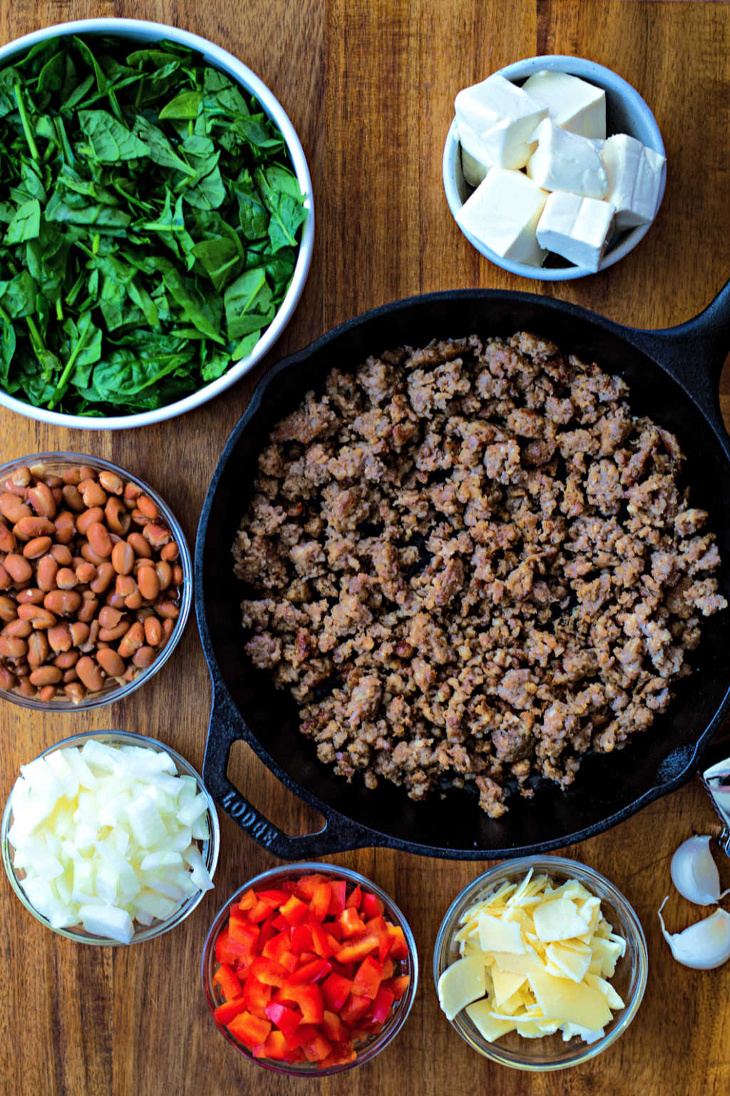 ingredients for Sausage, Bean, and Spinach Dip