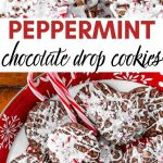 peppermint chocolate drop cookies on a holiday platter with candy canes