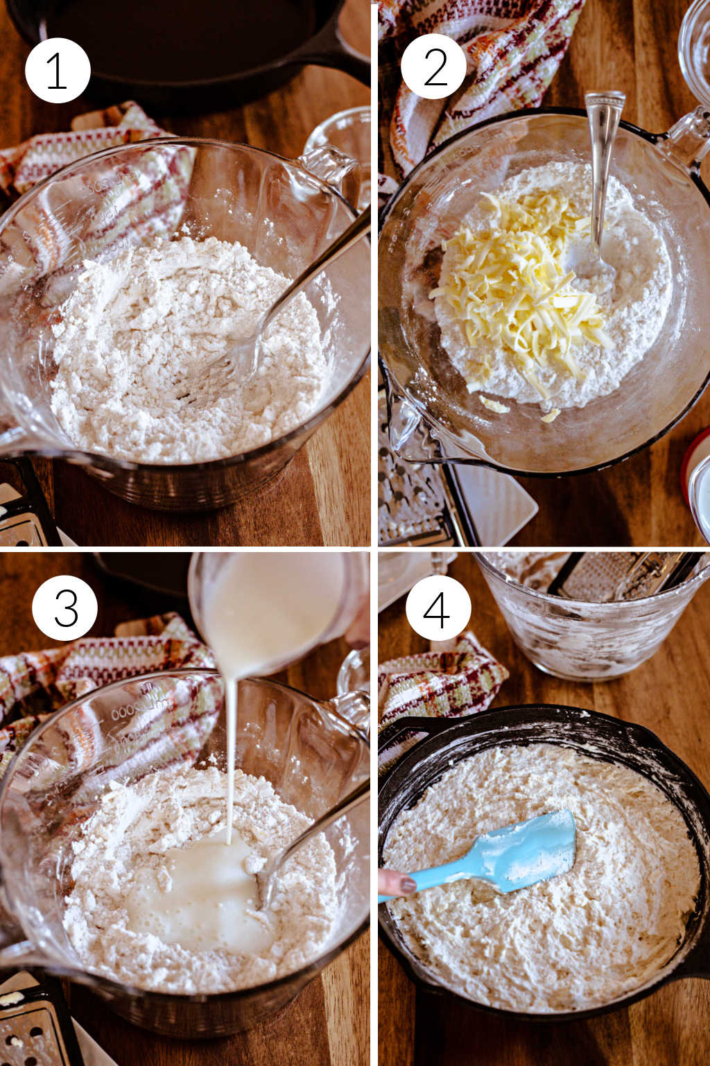 process steps for making biscuit bread in a skillet