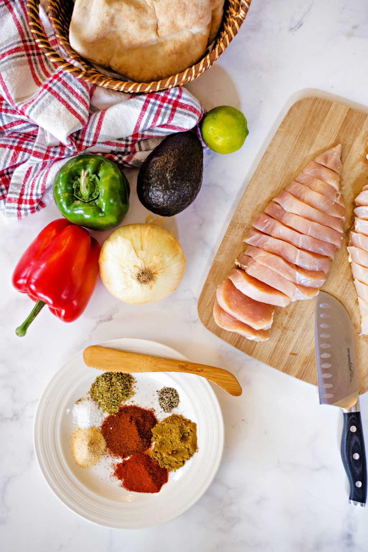 ingredients for chicken fajita pitas