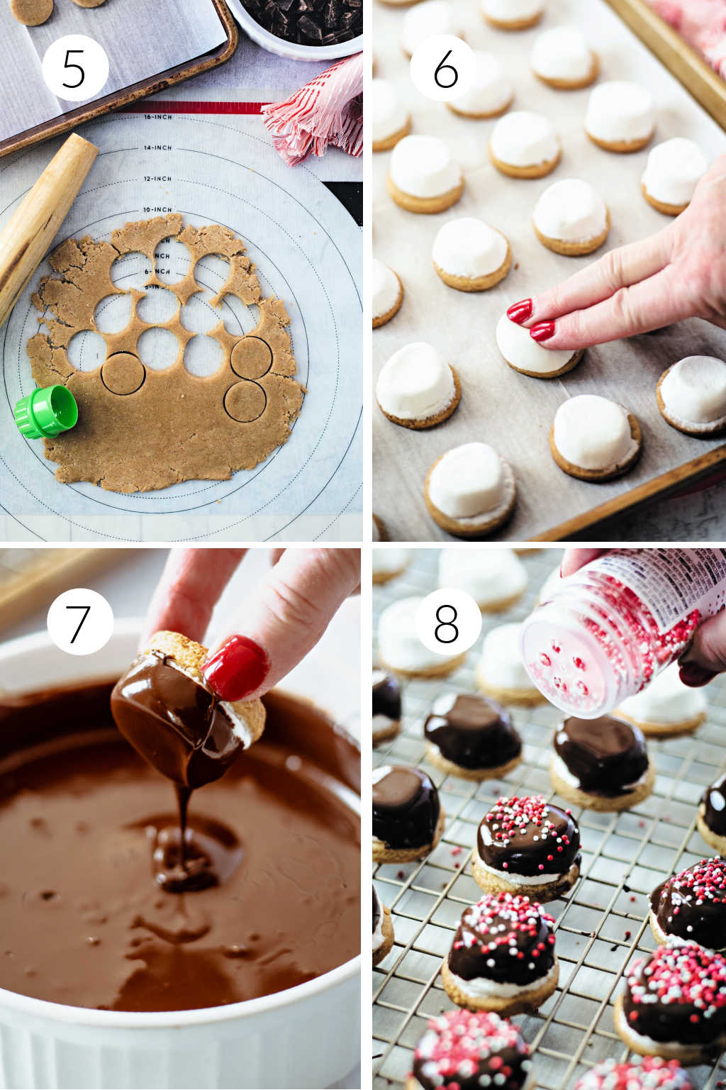 chocolate marshmallow cookie baking and decorating process steps