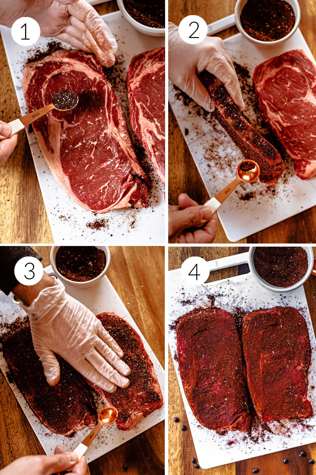 step by step process shots for applying coffee rub to steak