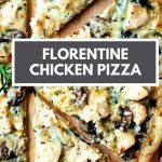 Chicken Florentine Pizza cut into slices on a wooden board