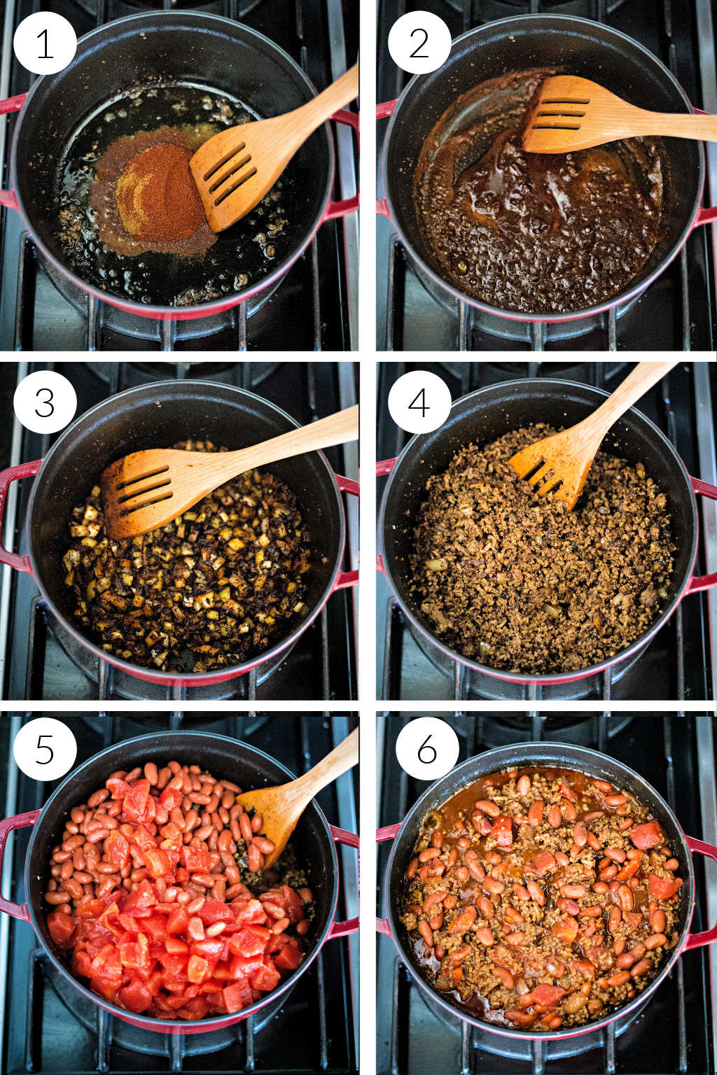 process steps for ground beef chili