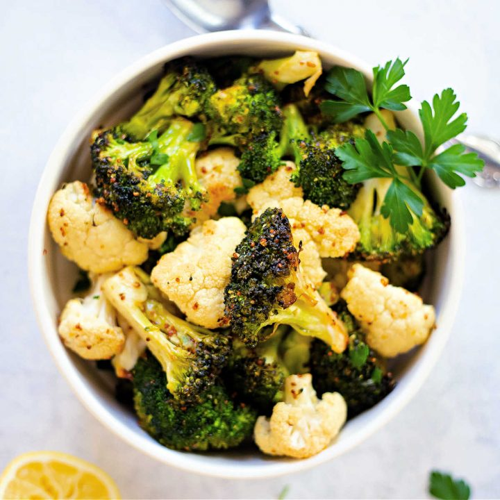 Roasted Broccoli and Cauliflower in a white bowl