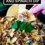 Sausage, Bean, and Spinach Dip on a tortilla chip