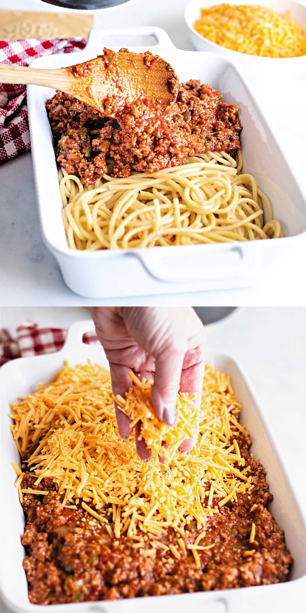 layering sauce and cheese on top of spaghetti in a casserole dish for baked spaghetti.