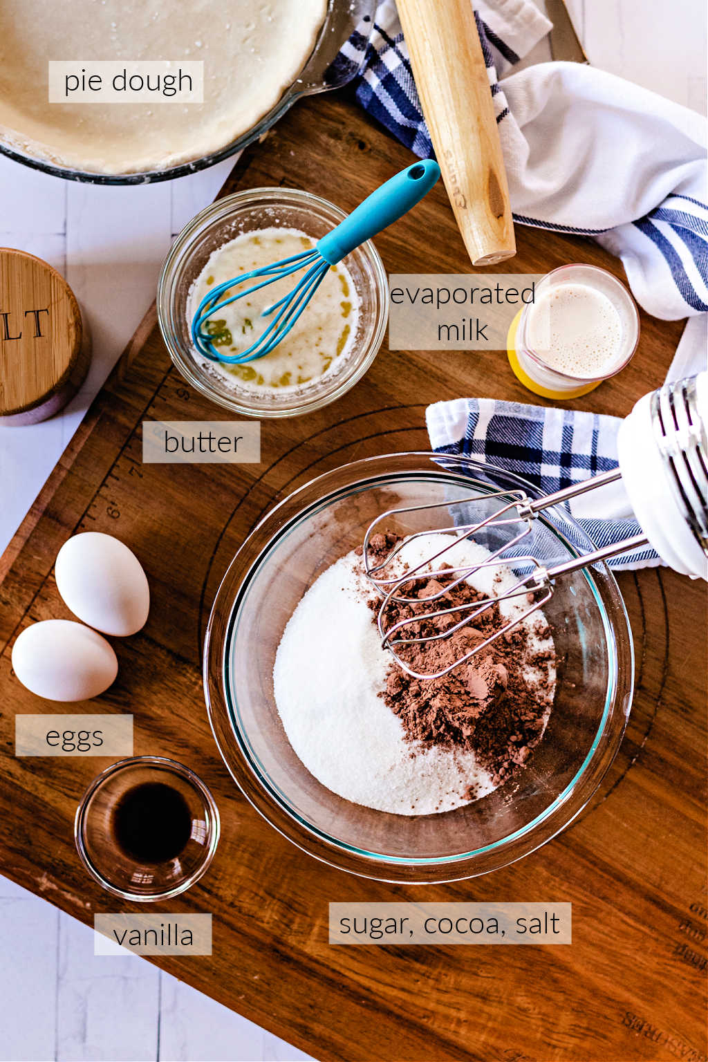 ingredients for chocolate chess pie.