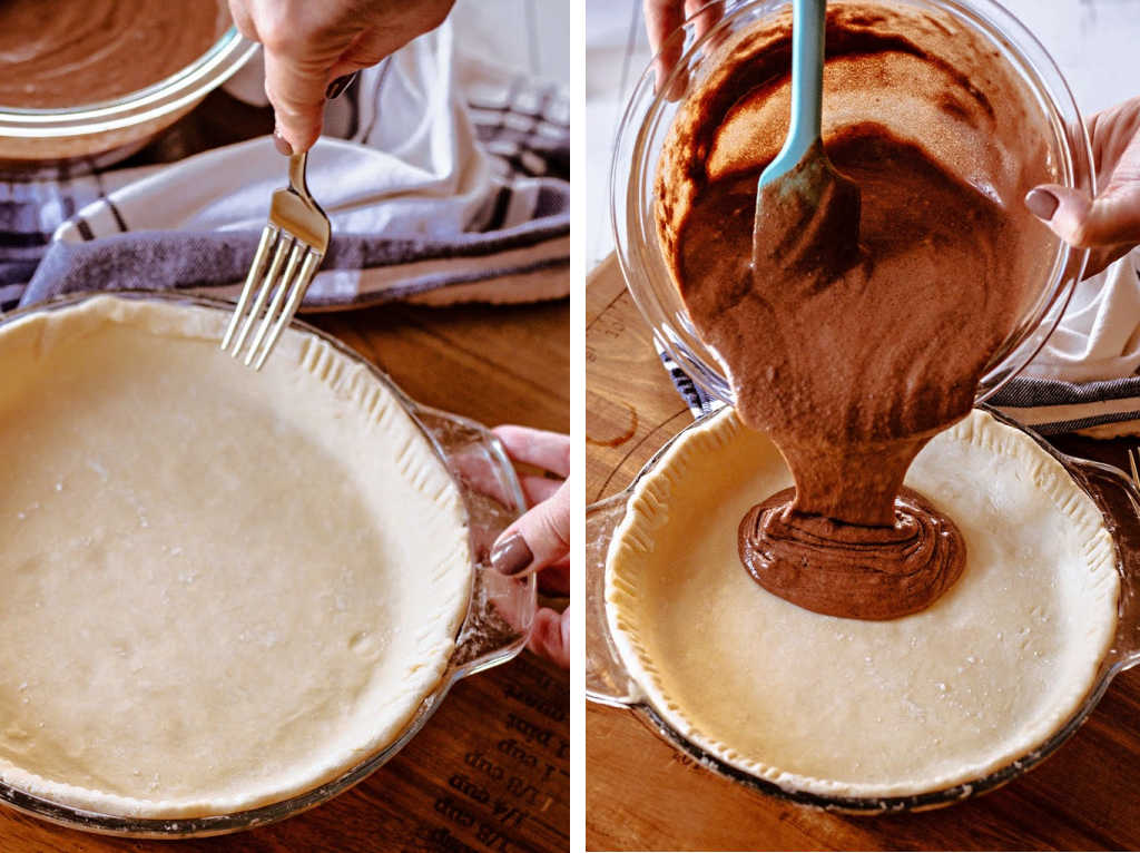 fluting a pie crust and pouring batter for chocolate chess pie into the crust.