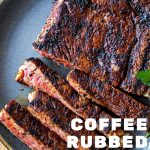 coffee rubbed steak sliced on a gray plate