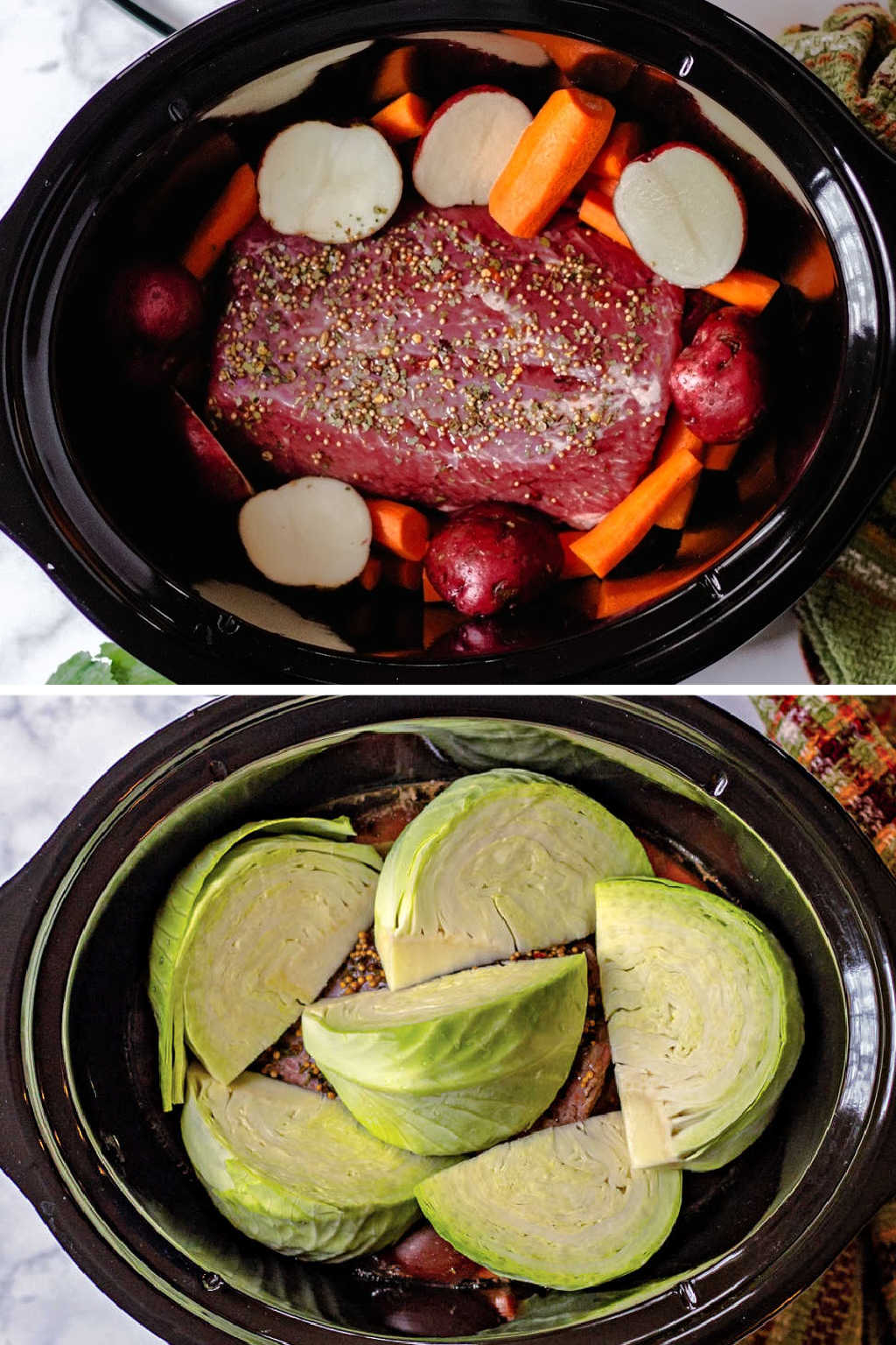a slow cooker with corned beef, carrots, and potatoes.