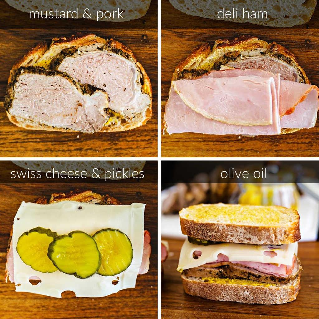 steps for assembling Sandwich Cubano.