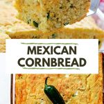 a square of Mexican cornbread on a spatula