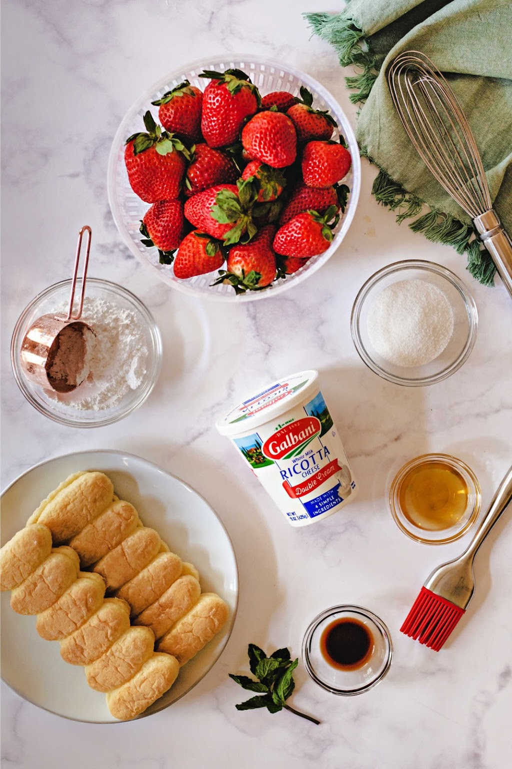 ingredients for making strawberry ricotta trifle.