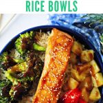 teriyaki salmon in a bowl with brown rice, roasted broccoli, red bell pepper, and pineapple on a wooden table