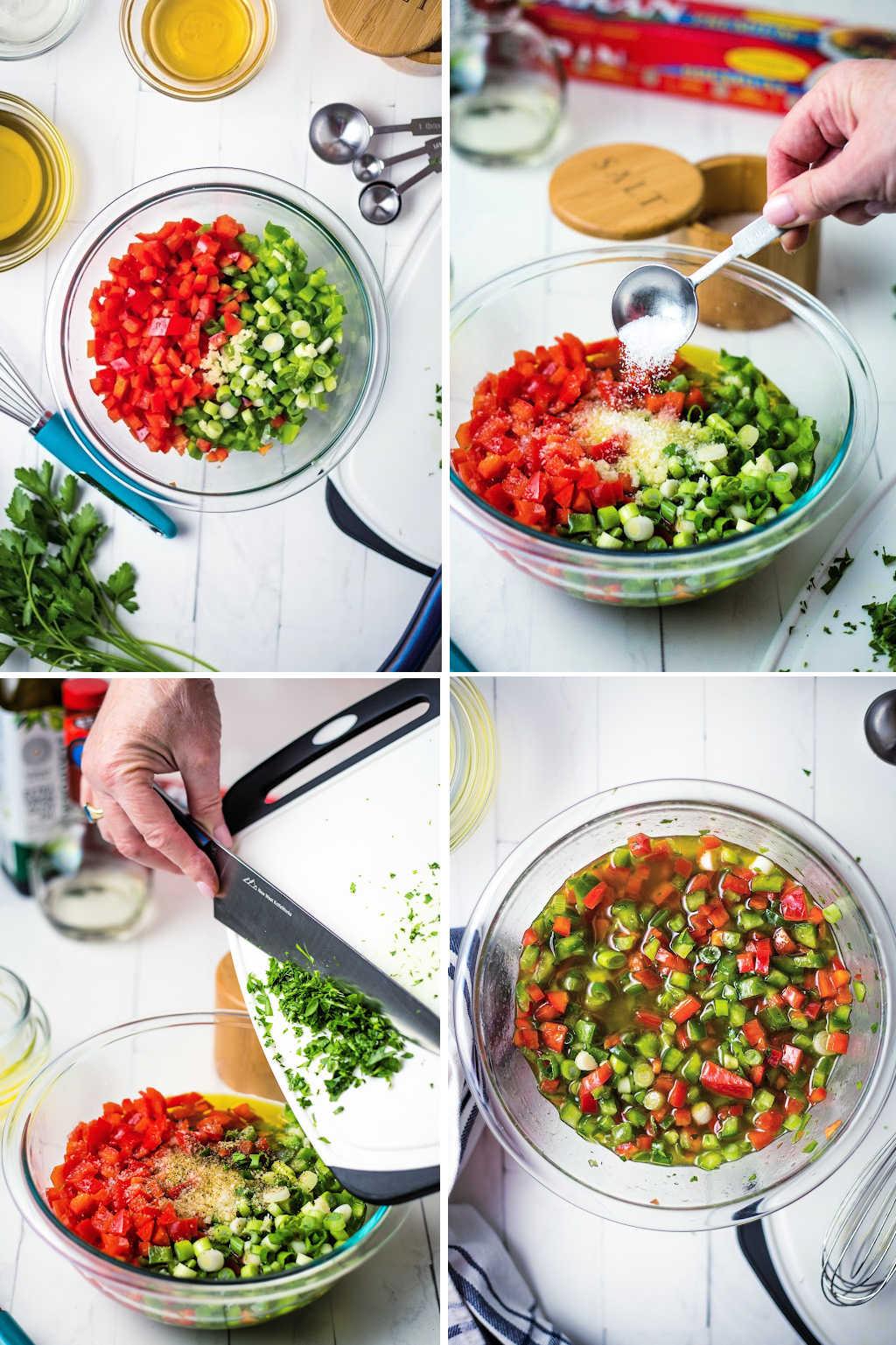 process steps for making vinaigrette for black eyed pea salad.
