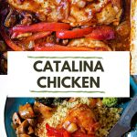 catalina chicken in a white baking dish