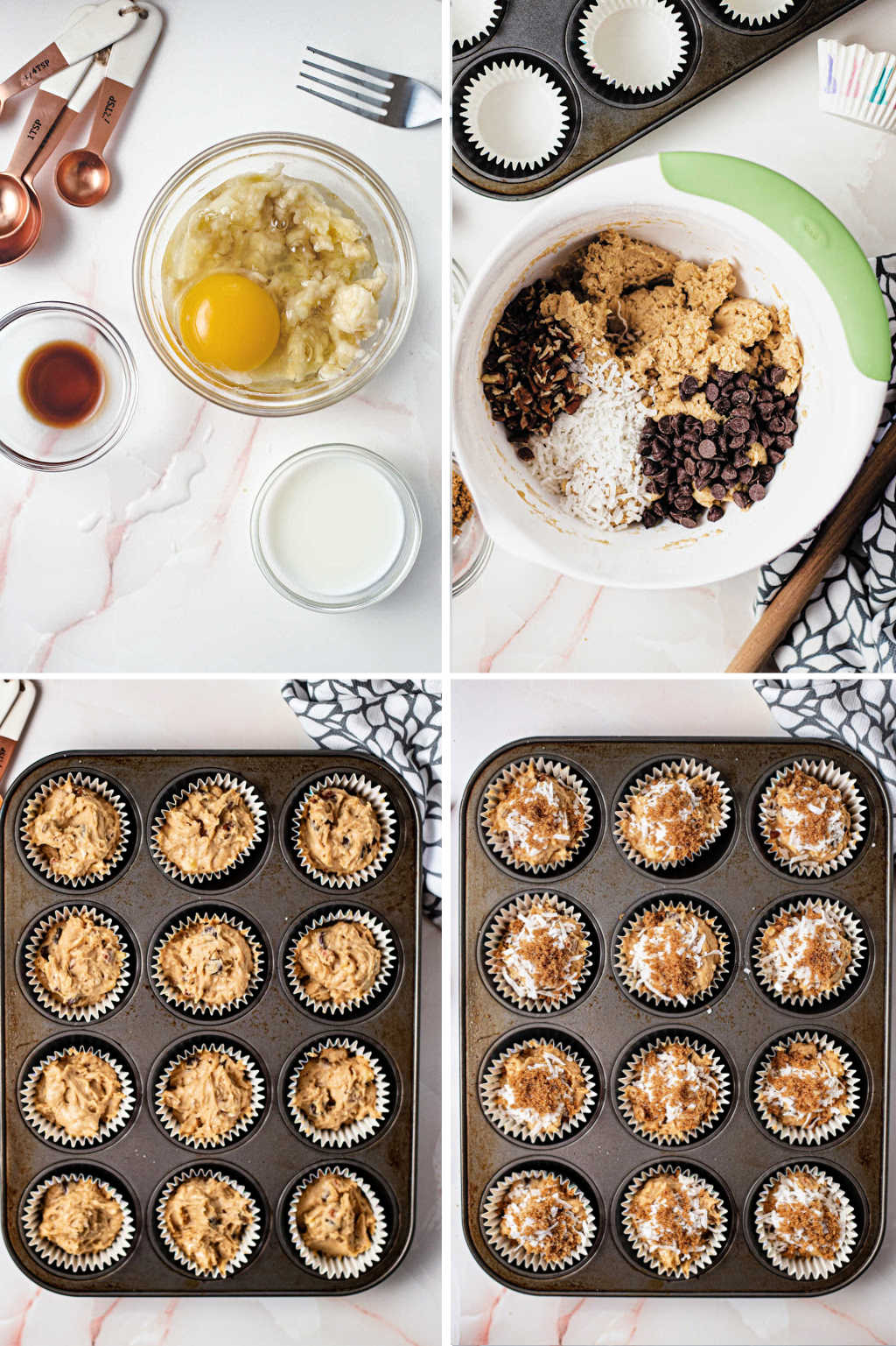 process steps for making vinaigrette for chocolatey coconut banana muffins.