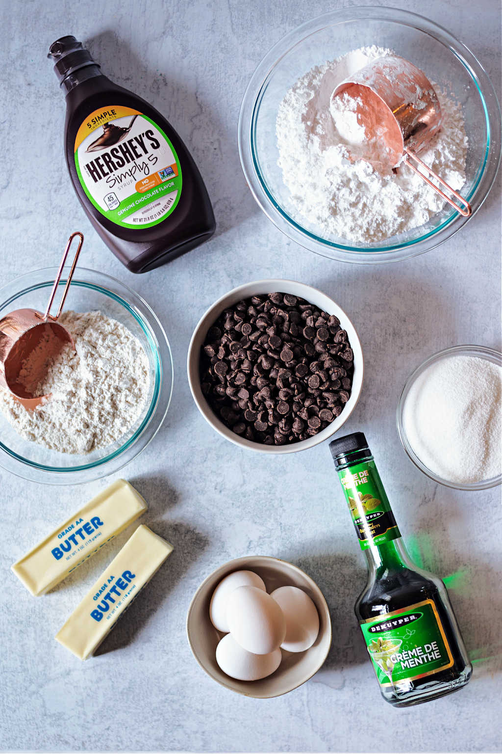 ingredients for fudge mint brownies on a table.