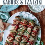 four skewers of greek chicken kebabs on a white platter on a wooden table.