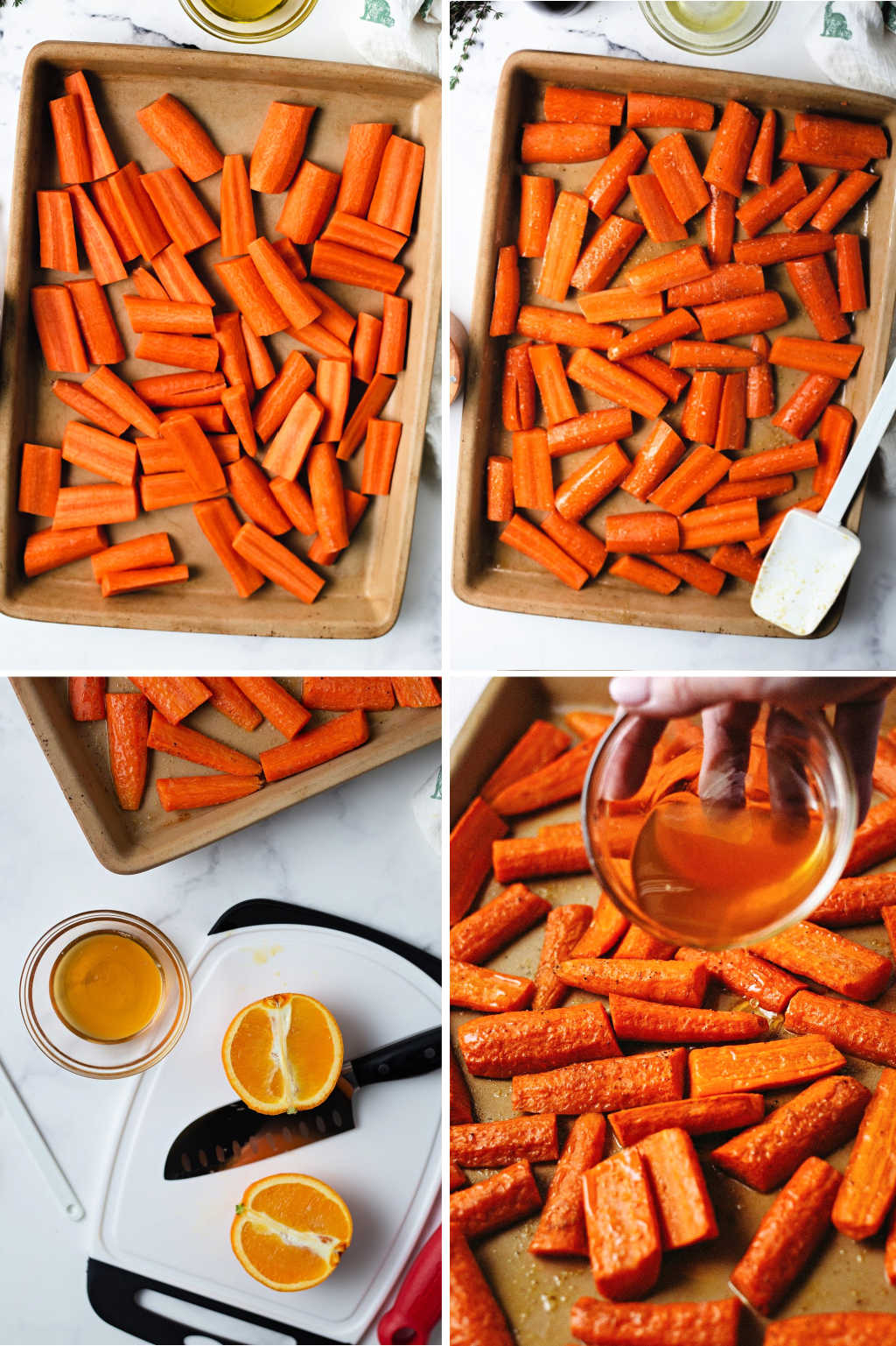 process steps for preparing roasted carrots with honey.