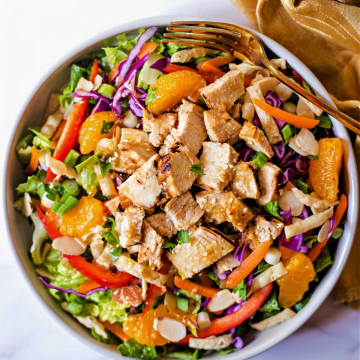 Asian Sesame Salad in a bowl on a table.