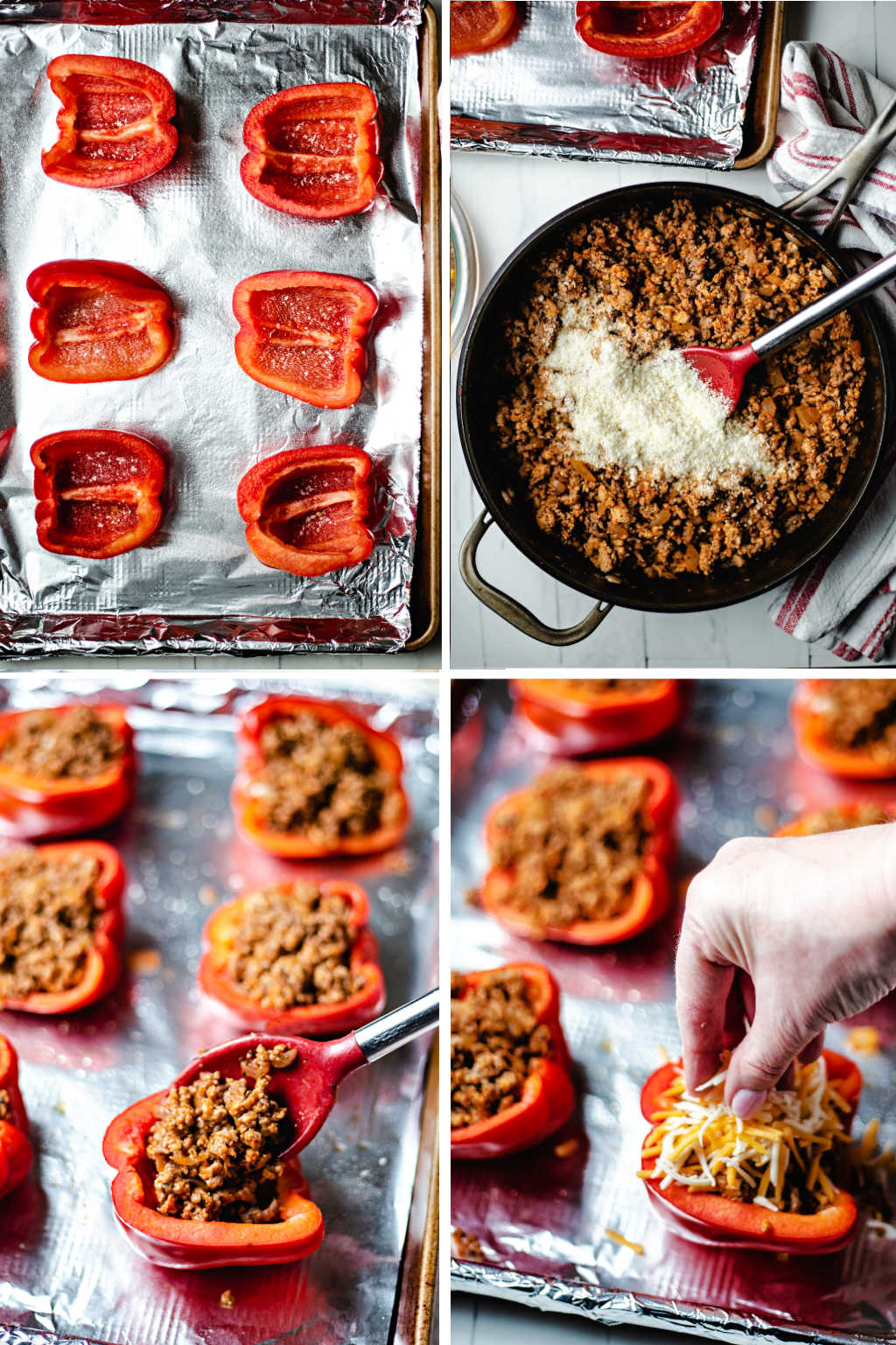 process steps for stuffing red bell peppers with meat and cheese for keto bell peppers.
