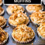 Chocolaty Banana Coconut Muffins on a table.