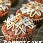 carrot cake muffins on a wire rack.
