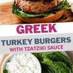 Greek Turkey Burgers with Tzatziki Sauce on a wooden board.